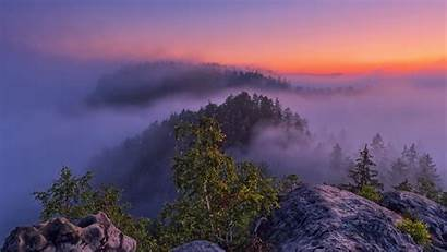 4k Sunset Mountain Fogy Wallpapers Nature Background