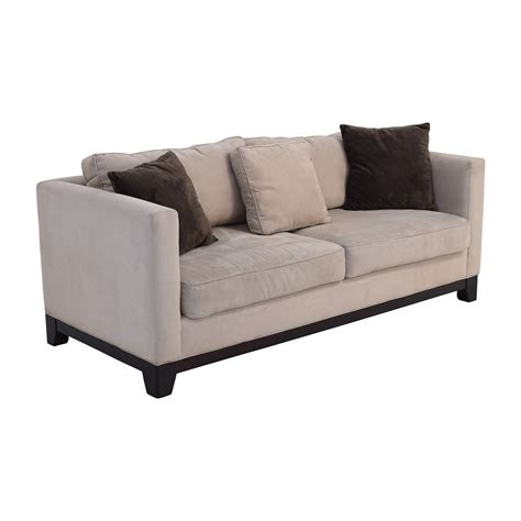 60% Off  Bauhaus Bauhaus Beige Microsuede Couch With Toss