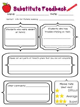 free substitute teacher forms substitute feedback form freebie by lauren livengood tpt