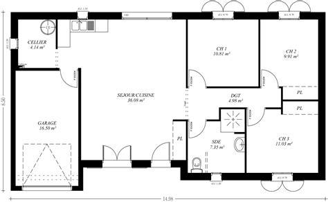 maison 3 chambres plain pied plan maison 110m2 plain pied 3 plan maison plain pied 3