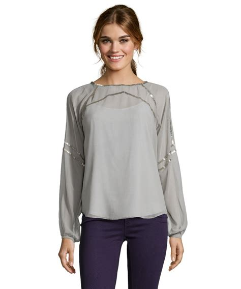 silver blouse aryn k s grey and silver bateau neck embellished