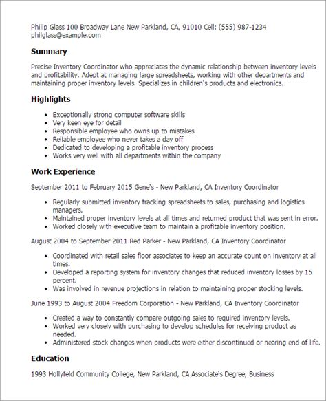 Inventory Coordinator Resume professional inventory coordinator templates to showcase