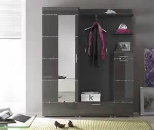 designer schuhschrank hochglanz möbel garderoben set 5 teilig in anthrazit hochglanz