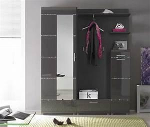Designer Garderoben Set : m bel garderoben set 5 teilig in anthrazit hochglanz ~ Indierocktalk.com Haus und Dekorationen