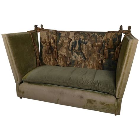 Knole Settee For Sale by Edwardian Green Velvet Knole Settee With 17th Century