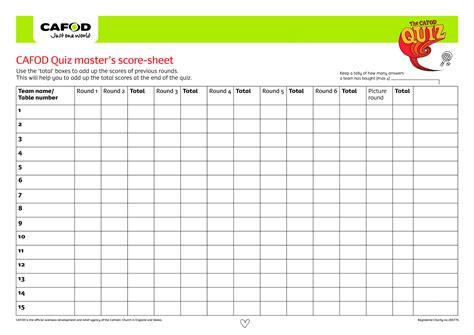 quiz score sheet templates at allbusinesstemplates com