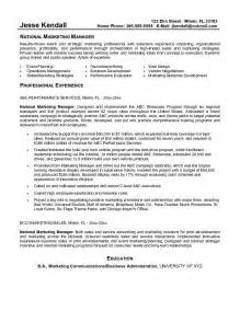 exle national marketing manager resume free sle