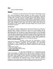Title Study Diode Rectifiers Abstract