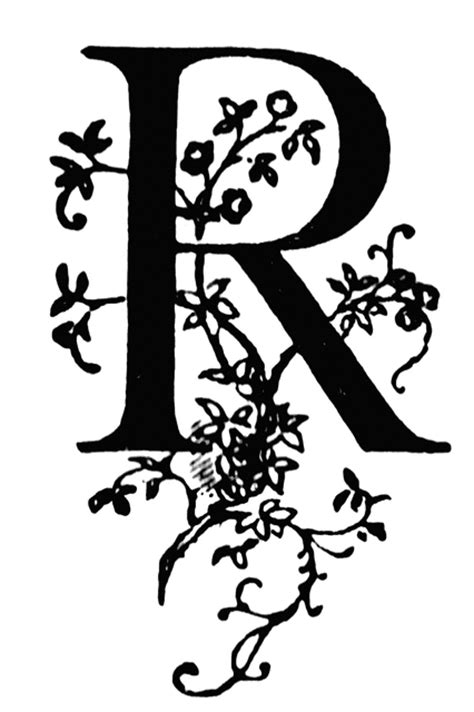floral initial clipart