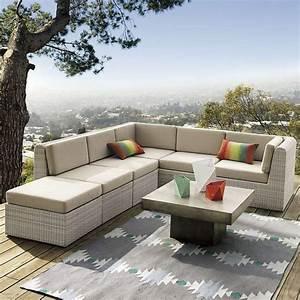 idee amenagement terrasse pour un exterieur moderne With tapis exterieur avec prix canape saba