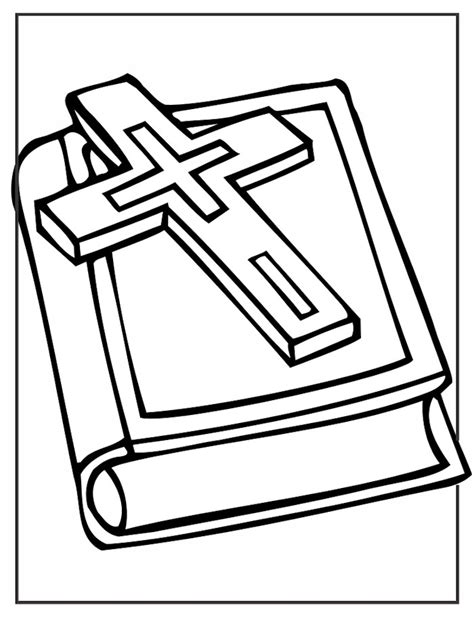 bible coloring page cross and bible coloring page