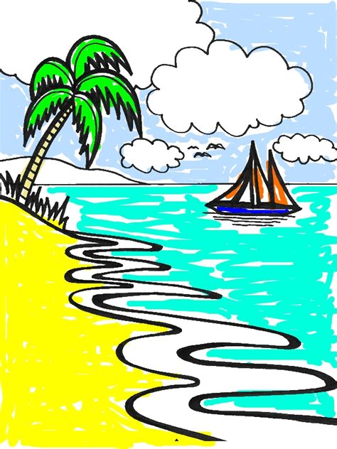 beautiful beach  drawing  art graphic coloring page  print  coloring