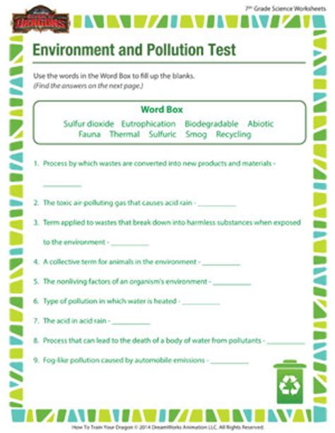 environment and pollution 7th grade science worksheet