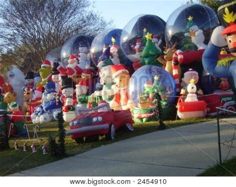 large blow up christmas decorations front yard excess image photo bigstock