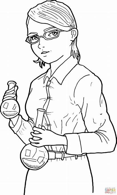 Scientist Coloring Woman Drawing Svg Pages Female