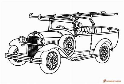 Coloring Fire Truck Pages Trucks Line Simple