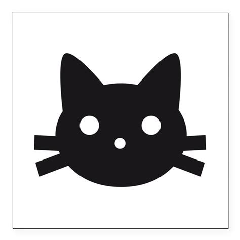 "Black cat face design Square Car Magnet 3"" x 3"" by listing"