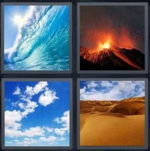 pics  word answer  wave volcano sky desert