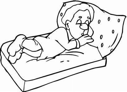 Sleeping Sleep Coloring Pages Drawing Night Line