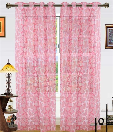 dekor world curtains dekor world pink polyester window curtain set of 2 buy