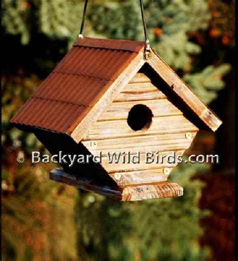 wren rustic metal roof birdhouse