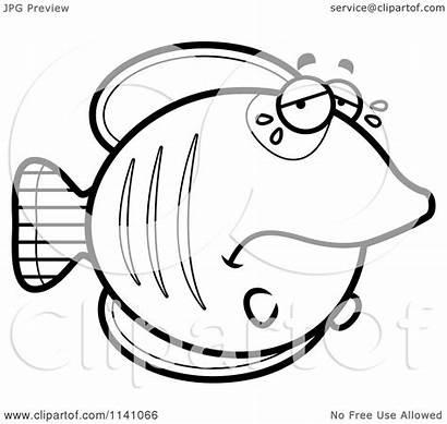 Sad Crying Cartoon Butterflyfish Clipart Coloring Emoji