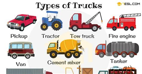 Types Of Trucks In English