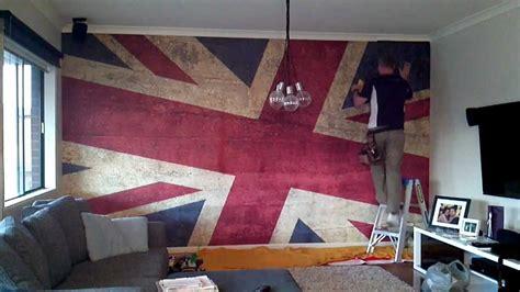wallpaper mural installation grunge union jack youtube