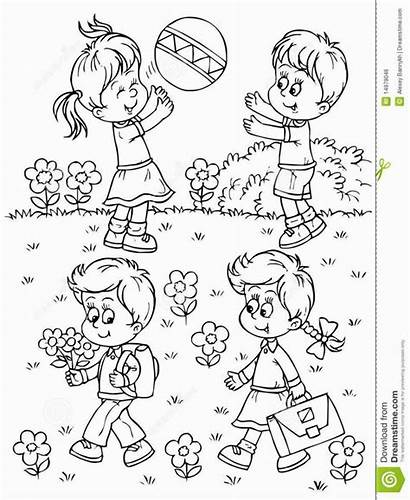 Playing Playground Children Coloring Pages Boys Play