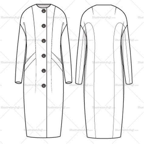 Coat Template by S Maxi Cocoon Coat Fashion Flat Template Templates