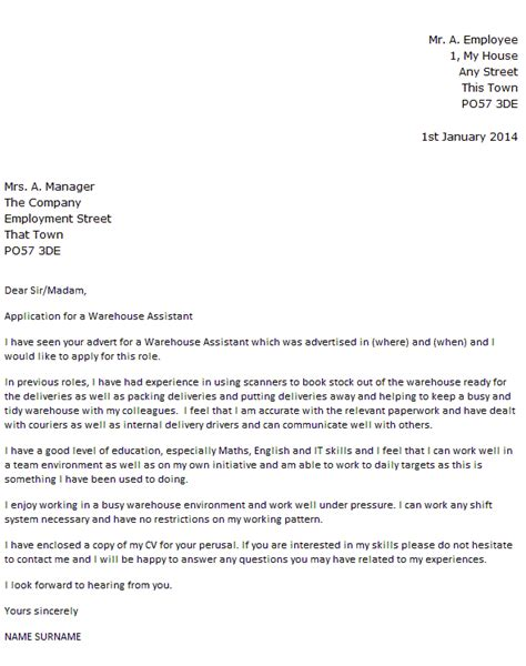 Cover Letter For Warehouse Worker by Warehouse Assistant Cover Letter Exle Icover Org Uk