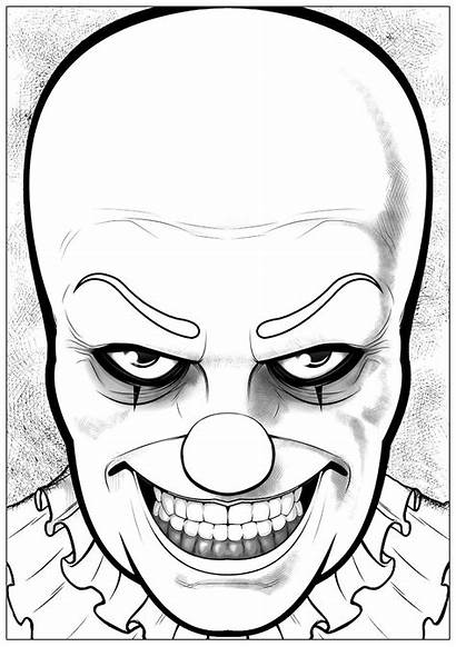 Coloring Clown Halloween Pennywise Pages Printable Adults