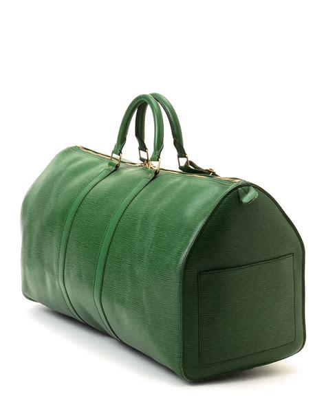 louis vuitton leather green travel bag vintage lyst