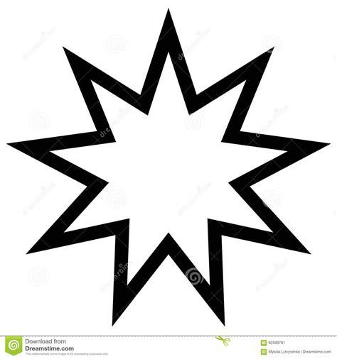 bahai symbol nine star angles sacred number baha faith vector light preview
