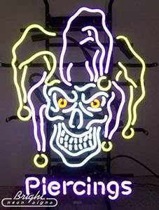 Jester Skull Piercings Neon Sign only $329 99 Tattoo
