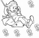 Swing Coloring Drawing Summer Kid Colour Drawings 96kb 742px April sketch template