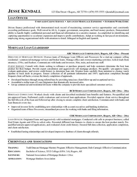 Loan Officer Resume Sles by Mortgage Loan Officer Description Sle