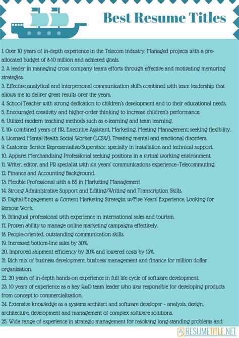 resume title best resume gallery