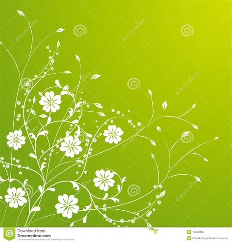 white flower pattern  green background stock