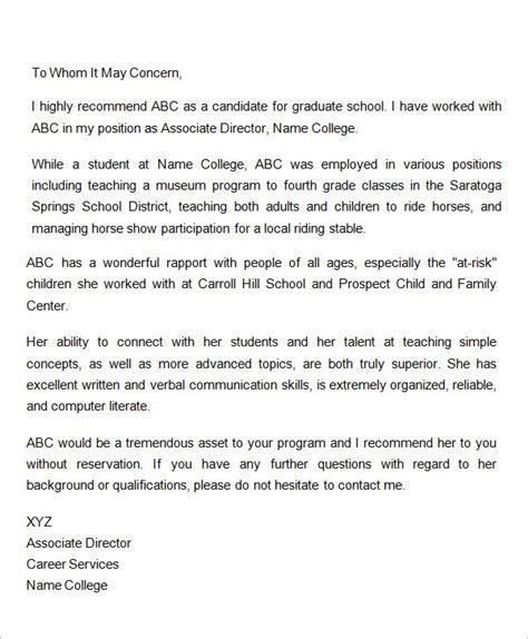 letter  recommendation  graduate school  employer