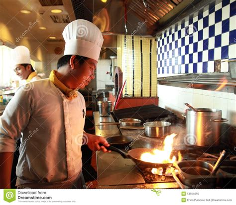 chef flambe cooking royalty  stock image image