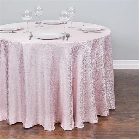 light pink table cloth 108 in abstract silk embroidered polyester