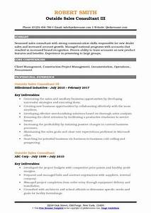 Outside Sales Consultant Resume Samples