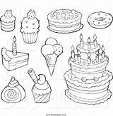 Dessert Desserts Drawing Clipart Cakes Ice Cream Coloring Pages Cake Treats Clip Christmas Getdrawings Elegant sketch template