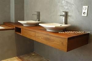 Plan Vasque Bois Brut : plan vasque en teck sur mesure plan vasque en bois ~ Teatrodelosmanantiales.com Idées de Décoration