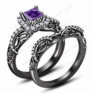 Women39s black gold fn princess 075ct amethyst disney for Disney wedding rings set