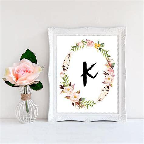 printable monogram letter  wall art boho  wordsandconfetti