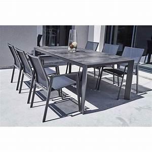 Ensemble Table Chaise Jardin : ensemble table et chaise de jardin en aluminium gris ~ Mglfilm.com Idées de Décoration