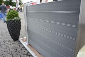 wpc sichtschutz zaun set alu 4 m wpc dielen zaun shop With markise balkon mit designer tapeten sale