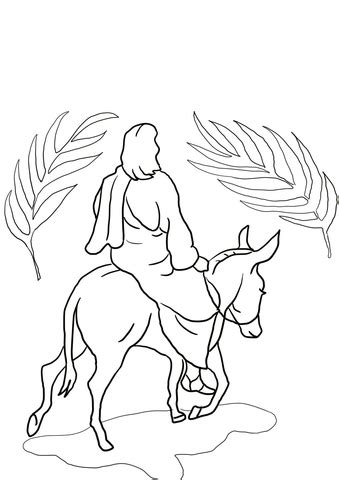 jesus riding   donkey coloring page  printable coloring pages